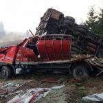 FOTO: Un autocamion încărcat cu bovine s-a răsturnat în Pasul Tihuța! Șapte ore s-au chinuit salvatorii să evacueze animalele