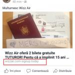 Țeapa de pe facebook cu biletele Wizz Air! Compania a avut prejudicii de imagine, iar câștigătorii închipuiți și-au declarat datele de pe CARDURI!