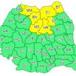 Cod galben de ninsori abundente valabil pentru județul Bistrița-Năsăud și alte 7 județe din nordul țării
